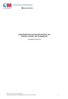 Calendario de Vacunación Infantil de la Comunidad de Madrid. (2015) Book Cover